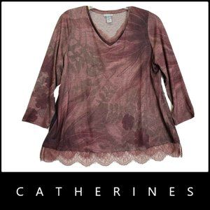 Catherines Women V Neck Blouse Size 1X Brown